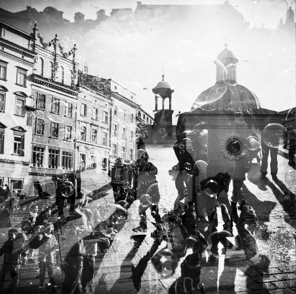 Zeiss Ikon Nettar 517/16, Krakow, triple exposure, analogue photography, -1