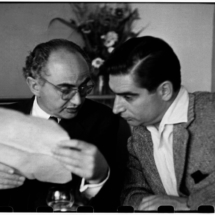 Henri Cartier Bresson FRANCE. Paris. The photographers David SEYMOUR Chim left and Robert capa. 1952. 215x215 Photos of Henri Cartier Bresson
